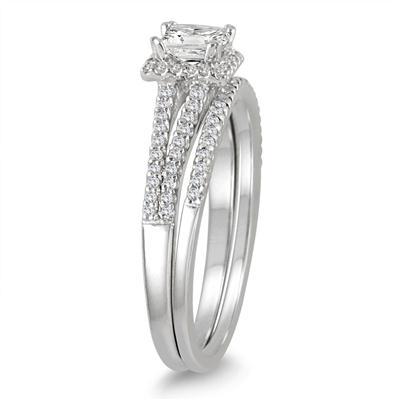 1/2 Carat TW Princess Cut Diamond Bridal Set in 10K White Gold