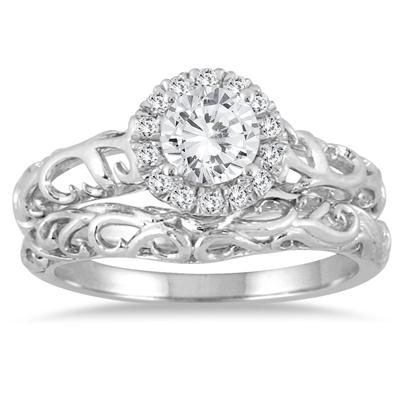 3/4 Carat TW Halo Art Deco Styled Engraved Diamond Bridal Set in 14K White Gold