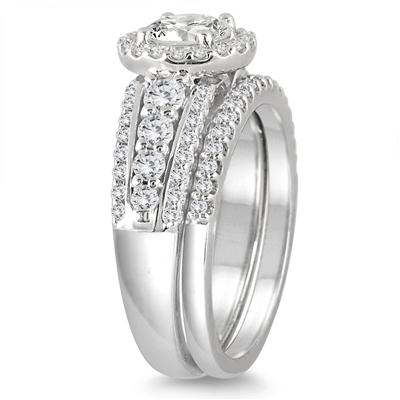 AGS Certified 1 5/8 Carat TW Diamond Halo Bridal Set in 14K White Gold (I-J Color, I2-I3 Clarity)