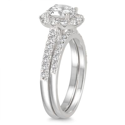 AGS Certified 2 Carat TW Diamond Halo Bridal Set in 14K White Gold (I-J Color, I2-I3 Clarity)
