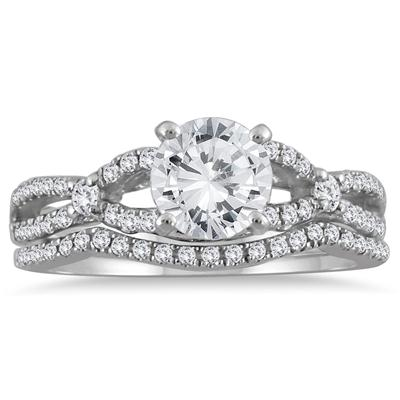 AGS Certified 1 1/3 Carat TW Diamond Bridal Set with Stones in 14K White Gold (H-I Color, I1-I2 Clarity)