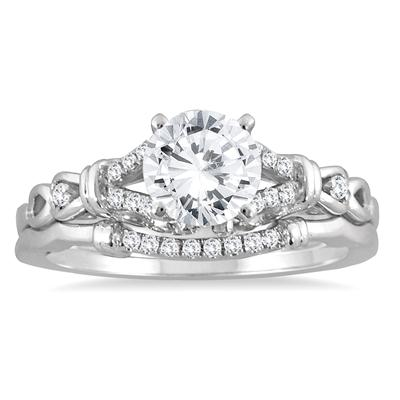 AGS Certified 1 1/6 Carat TW Diamond Bridal Set in 14K White Gold (H-I Color, I1-I2 Clarity)