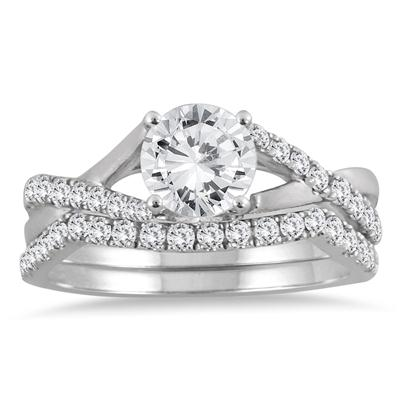 1 3/8 Carat TW Diamond Bridal Set in 14K White Gold (I-J Color, I2-I3 Clarity)