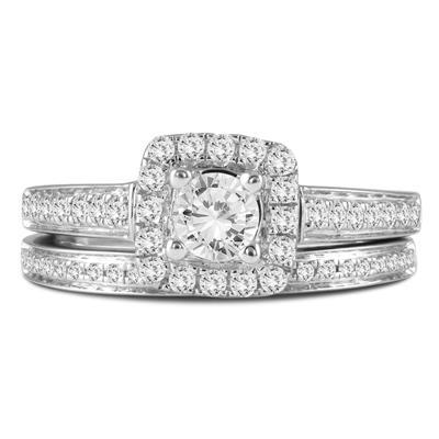 1 Carat TW Diamond Engagement Ring and Wedding Band Bridal Set in 10K White Gold