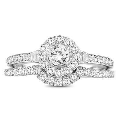 7/8 Carat TW Diamond Engagement Ring and Wedding Band Bridal Set in 10K White Gold