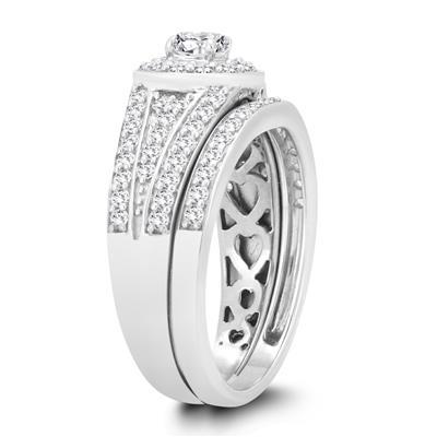 1 1/8 Carat TW Diamond Engagement Ring and Wedding Band Bridal Set in 10K White Gold