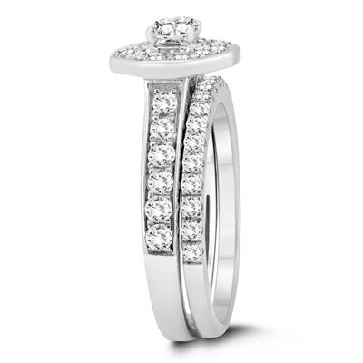 1 1/2 Carat TW Diamond Engagement Ring and Wedding Band Bridal Set in 10K White Gold