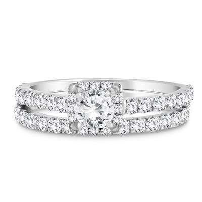 1 5/8 Carat TW Diamond Engagement Ring and Wedding Band Bridal Set in 10K White Gold