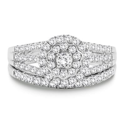 7/8 Carat TW Engagement Ring and Wedding Band Bridal Set in 10K White Gold
