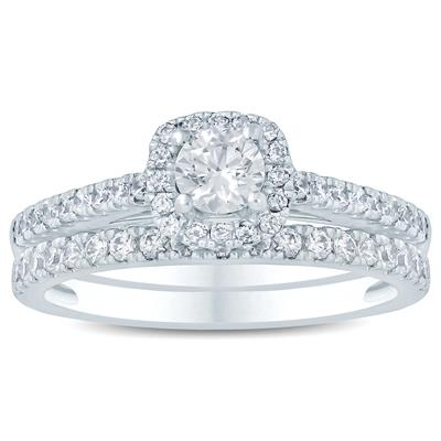 1 Carat TW Diamond Halo Bridal Set in 10K White Gold