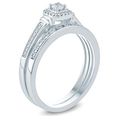 1/5 Carat TW Diamond Halo Engagement Ring and Matching Wedding Band Set in 10K White Gold