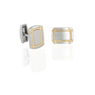 Gold Toned Bands Stainless Steel Cuff Links