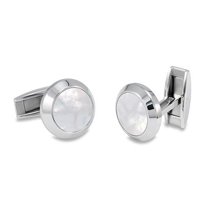 Round Stainless Steel with Mother of Pearl Inlay Cuff Links