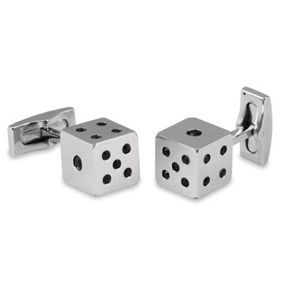 Stainless Steel Black Cubic Zirconia Dice Cuff Links