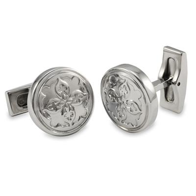 Round Stainless Steel Fleur De Lis Imprint Cuff Links