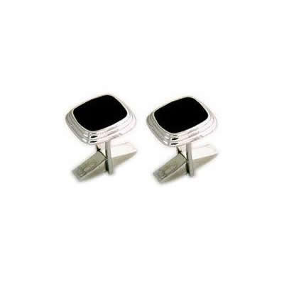 Sterling Silver Black Lacquer Cuff Links