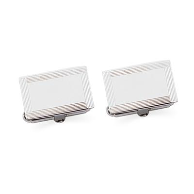Sterling Silver Rectangle Frame Cuff Links
