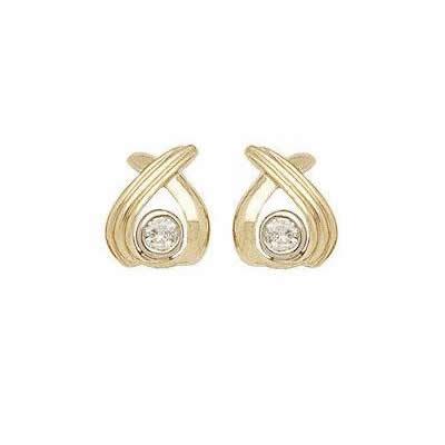 Two-tone High Fashion Diamond Bezel Earrings