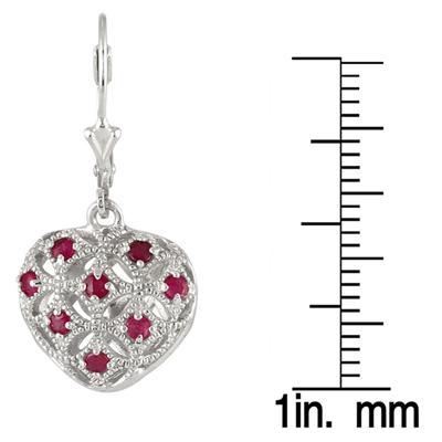 1/2 Carat Ruby Puff Heart Earrings in .925 Sterling Silver