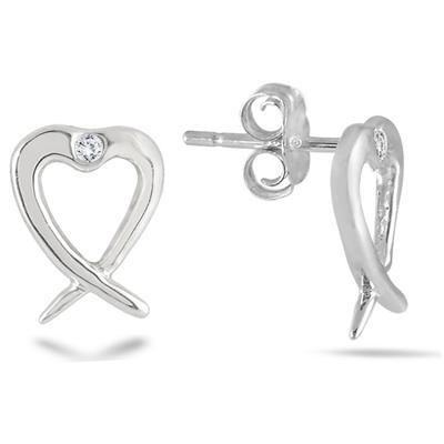 Diamond Heart Twist Earrings in .925 Sterling Silver
