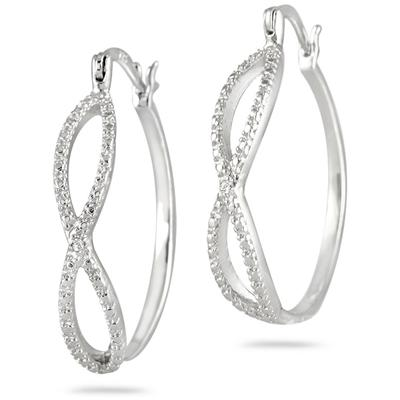 Diamond Accent Hoop Earrings in .925 Sterling Silver