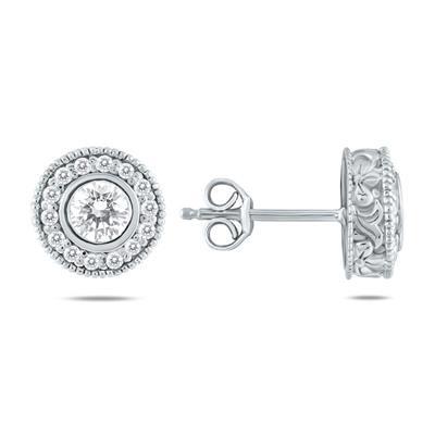 3/4 Carat TW Diamond Bezel Earrings 10K White Gold
