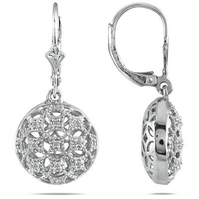 1/10 CTW Diamond Circle Puff Earrings in Brass