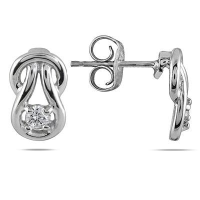 1/8 Carat TW Diamond Love Knot Earrings in 10K White Gold