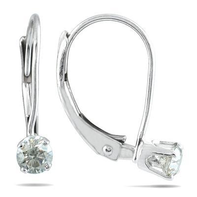 1/4 Carat TW White Diamond Lever Back Earrings in 14K White Gold