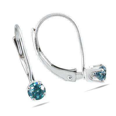 1/4 Carat TW Blue Diamond Lever Back Earrings in 14K White Gold