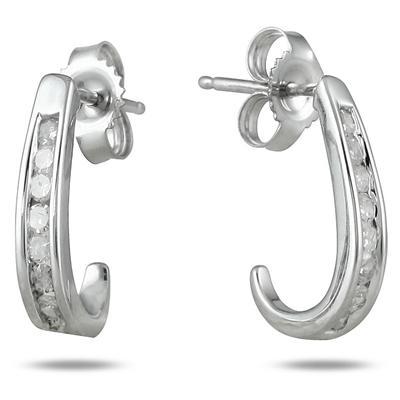 80609a1c0 1/4 Carat TW Channel-Set Diamond Hoop Earrings in 10K White Gold - ERF12733