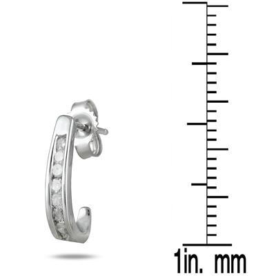 b7de604bd 1/4 Carat TW Channel-Set Diamond Hoop Earrings in 10K White Gold ...