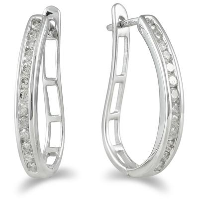 1/2 Carat TW Channel-Set Diamond Lever Back Hoop Earrings in 10K White Gold