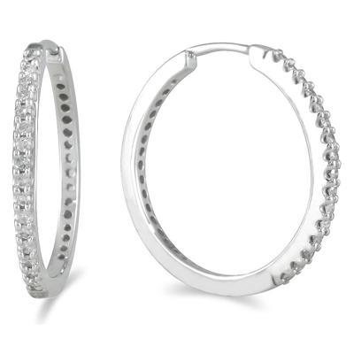 1/4 Carat TW Inside Out Diamond Hoop Earrings in 10K White Gold