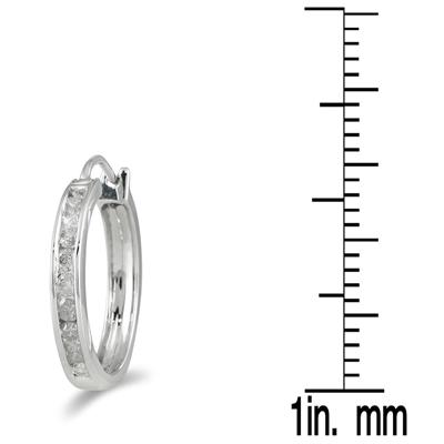 1/4 Carat TW Channel-Set Diamond Hoop Earrings in 10K White Gold