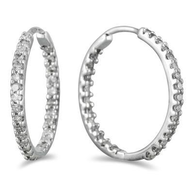 1/2 Carat TW Inside Out Diamond Hoop Earrings in 10K White Gold