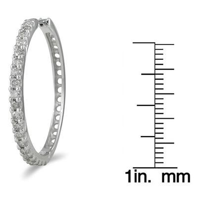 1 Carat TW Diamond Hoop Earrings in 10K White Gold