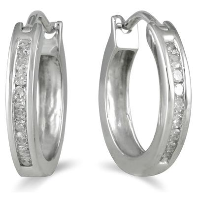 1 Carat TW Channel-Set Diamond Hoop Earrings in 10K White Gold