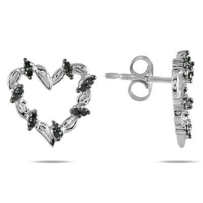 1/5 Carat TW Black Diamond Heart Earrings in 10K White Gold
