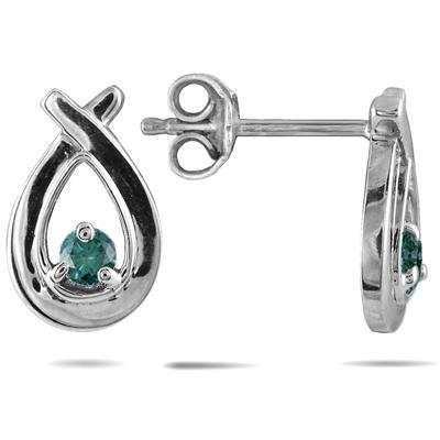 Blue Diamond Loop Earrings in 10K White Gold