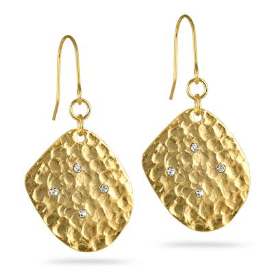 18K Gold Inlay and Cubic Zirconia Diamond Leaf Earrings with Hook Clasp