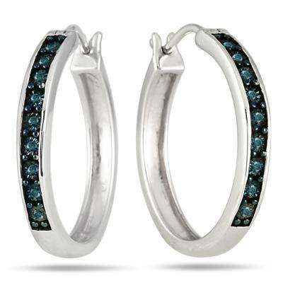 1/10 Carat Blue Diamond Hoop Earrings in .925 Sterling Silver