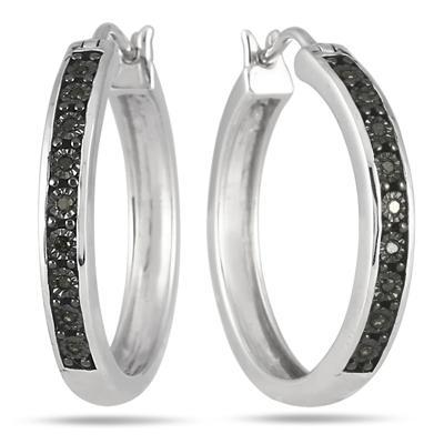 1/10 Carat Black Diamond Hoop Earrings in .925 Sterling Silver