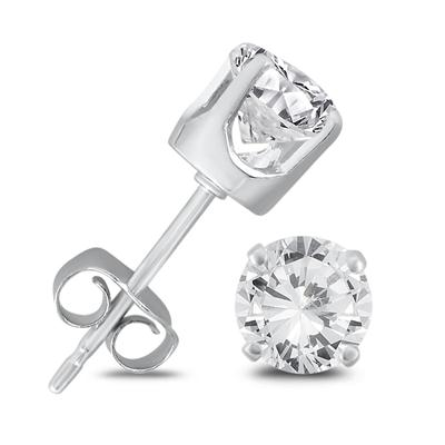 1 Carat TW Round Solitaire Diamond Stud Earrings in  925 Sterling