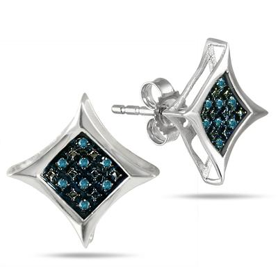 Blue Diamond Pave Square Stud Earrings in .925 Sterling Silver