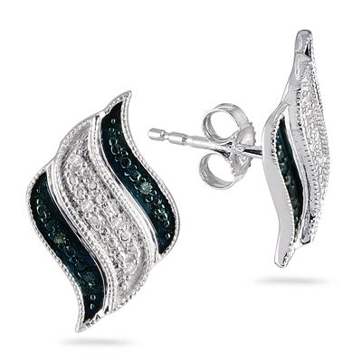 Blue and White Diamond Earrings in .925 Sterling Silver