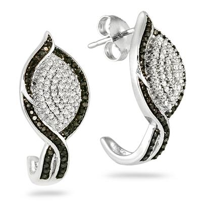 1 Carat Black and White Diamond Earrings in 14K White Gold