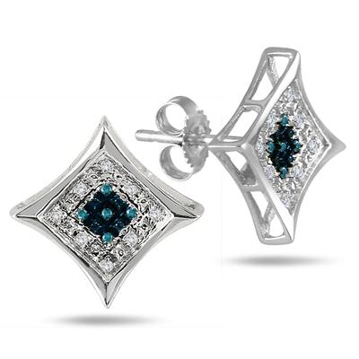 1/10 Carat Blue and White Diamond Pave Square Stud Earrings in .925 Sterling Silver