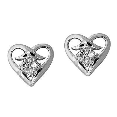 Heart Shape Diamond Earrings in 14kt White Gold