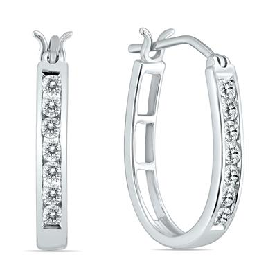 1/2 Carat TW Diamond Hoop Earrings in 10k White Gold